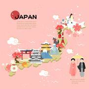 Beautiful Japan travel map Stock Illustration