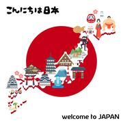 Lovely Japan travel map Stock Illustration