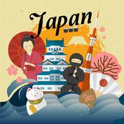 Attractive Japan travel poster Piirros