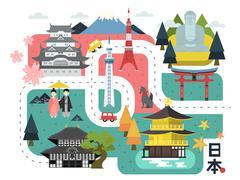 Adorable Japan walking map Stock Illustration