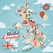 United Kingdom travel map Stock Illustration