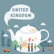 United Kingdom impression - afternoon tea Stock Illustration