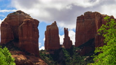 Time Lapse of Cathedral Rock during Storm in Sedona, Arizona -Tilt Up- Stock Footage