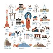 Japan cultural impression collections Stock Illustration