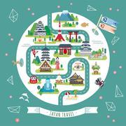 Japan walking map Stock Illustration