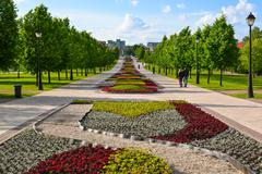 General view of park Tsaritsyno in summer at Moscow, Russia Stock Photos