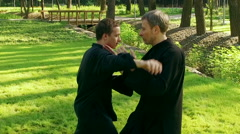 Training in a park. Workout. Two men practicing qigong. Slow motion. HD Stock Footage