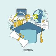 Education concept in thin line style Stock Illustration