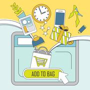Add products to bag concept in thin line style Stock Illustration