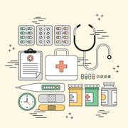 Medication supplies concept Stock Illustration