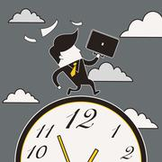 Businessman running in a hurry Stock Illustration