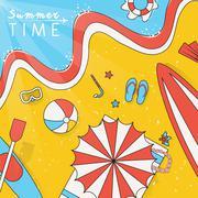 Summer beach scenery illustration Stock Illustration