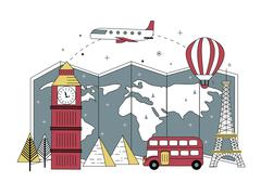 Adorable travel elements Stock Illustration
