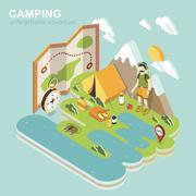 Camping adventure Stock Illustration