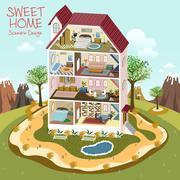 Sweet home scenario design Stock Illustration