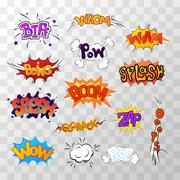 Large set of bright multi colored comic sound effects Stock Illustration