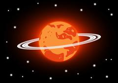 Mars and stars in space Stock Illustration