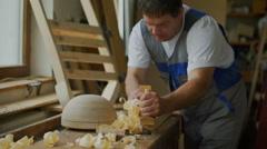 Removing wood shavings Stock Footage