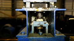 Close up shot heavy factory machine tool at work Stock Footage