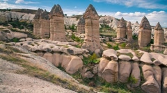 Amazing shapes in sandstone canyon near famous Goreme village Stock Footage