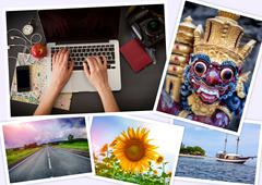 Collage of photographs on the theme  a journey Stock Photos