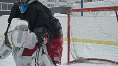 Ice Hockey Goalie Missing Puck Stock Footage