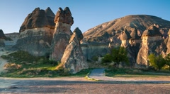 Fungous forms of sandstone in the canyon near Cavusin village, Cappadocia Stock Footage