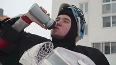 Tired Ice Hockey Player after Drill Stock Footage