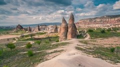 Colorful spring landscape in Cappadocia. Stock Footage