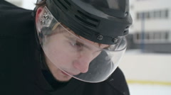 Closeup of Determined Ice Hockey Player Stock Footage