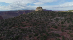 Epic Fly Over Desert and Strange Rock and Canyon Vista Stock Footage