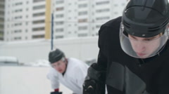 Competitive Hockey Forward Playing Rough Stock Footage