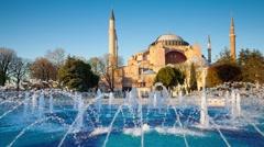 Colorful spring scene in Sultan Ahmet park in Istanbul, Turkey Arkistovideo
