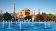 Colorful spring scene in Sultan Ahmet park in Istanbul, Turkey Stock Footage