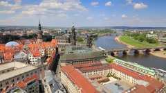 View from Church of Our Lady (Frauenkirche) of the Elbe river and Dresden tow Stock Footage