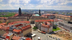 View from Church of Our Lady (Frauenkirche) of the Dresden town. Sunny spring Stock Footage