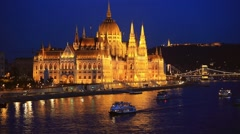 Picturesque cityscape of Hungarian parliament buildingand Danube river Stock Footage