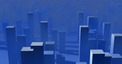 Stylized cubic 3d city , buildings, sky scrapers in blue fog Stock Footage