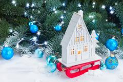White christmas house Stock Photos