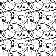 Black baroque seamless pattern in victorian style Stock Illustration