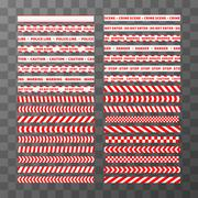 Big set of different seamless red and white caution tapes Stock Illustration
