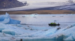 Motor boart cruise in Jokulsarlon glacial lagoon. Vatnajokull National Park, Stock Footage