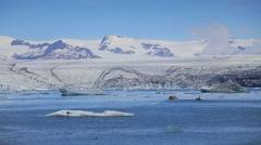 Motor boart cruise in Jokulsarlon glacial lagoon. Vatnajokull National Park, Stock Footage