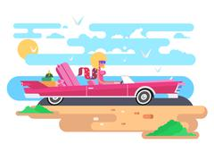 Blonde in a cabriolet on vacation Stock Illustration