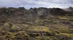 Lava field landscape in geothermal valley Leirhnjukur Stock Footage