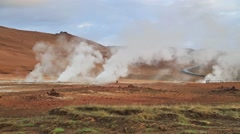Steaming fumarole in geothermal valley Hverarond; located Stock Footage