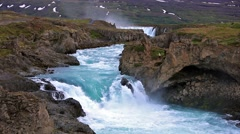 White night view of the Godafoss Waterfall in Iceland, Europe Stock Footage