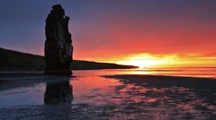 Along basalt stack Hvítserkur on the eastern shore of the Vatnsnes peninsula Stock Footage
