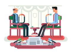 Politician interview flat design Stock Illustration