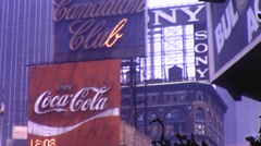 Giant Sign Times Square 42nd Theaters Crowd NYC 70s Vintage Film Home Movie 9996 Stock Footage